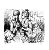 Malicious gossip whispered, old illustration. Vintage caricatures and fun, two young ladies and the malicious gossip Stock Images