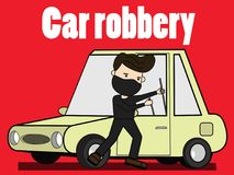 Malicious hitting leaving the car door to steal. Illustration vector concept Royalty Free Stock Photography