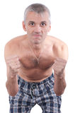 The malicious man with the compressed fists Stock Photography