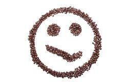 Malicious smile smiley coffee beans isolated on a white background.  Royalty Free Stock Images