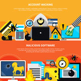 Malicious Software And Account Hacking Horizontal Banners Royalty Free Stock Images
