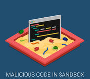 Malicious software application code flat vector technology. Malicious software application code development sandbox debug flat 3d isometric programming Stock Photo