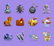 Malicious Software  Icons  Set Royalty Free Stock Photography