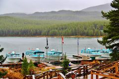 Malign Lake Jasper , Alberta. Beautiful Malign Lake in Jasper Yoho National Park Royalty Free Stock Images