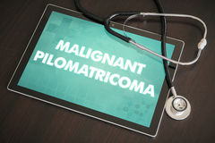 Malignant pilomatricoma (cutaneous disease) diagnosis medical co. Ncept on tablet screen with stethoscope Stock Image
