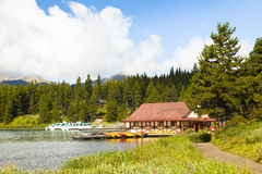 Maligne湖班夫国家公园西部加拿大不列颠哥伦比亚省 库存照片