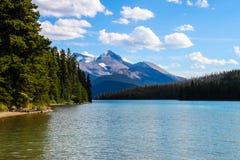 Maligne湖,碧玉国家公园 免版税图库摄影