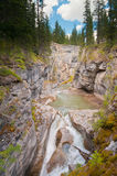 Maligne Canyon. Majestic view of Johnston canyon formed from earthquakes Royalty Free Stock Photos