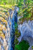 Maligne Canyon in Jasper National Park, Alberta, Canada. Maligne Canyon in Jasper National Park of Alberta, Canada. Eroded out of the Palliser Formation, the Royalty Free Stock Image