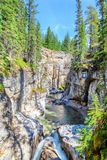 Maligne Canyon in Jasper National Park, Alberta, Canada. Maligne Canyon in Jasper National Park is constantly being eroded by the churning and swirling of the Royalty Free Stock Photos