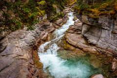 The Maligne Canyon in Jasper National Park. The Maligne River as it flows through the deep gorges of the Maligne Canyon in Jasper National Park in Alberta Canada royalty free stock photography