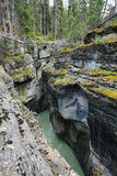 Maligne Canyon in Jasper. View from above of deep narrow Maligne Canyon in Jasper National Park, Alberta, Canada stock photo