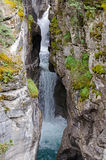 Maligne Canyon in Jasper. View at the Maligne Falls through the narrow Maligne Canyon in Jasper National Park, Alberta, Canada Stock Photo