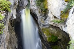 Maligne Canyon Falls Jasper National Park. Maligne Canyon is a natural feature located in the Jasper National Park near Jasper, Alberta, Canada. Eroded out of Royalty Free Stock Image