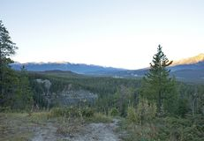 Maligne Canyon trailhead. Lookoff view at sunrise over the rockies from the maligne canyon trailhead Royalty Free Stock Images