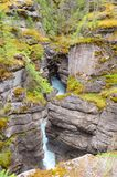 Maligne Canyon. Water flows through Maligne Canyon, the deepest canyon in the Canadian Rockies Stock Photography