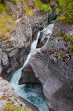 Maligne Canyon whirlpool. Water flows through Maligne Canyon, the deepest canyon in the Canadian Rockies Royalty Free Stock Image
