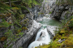 Maligne Falls through the narrow Maligne Canyon. View of one of several Maligne Falls through the narrow Maligne Canyon in Jasper National Park, Alberta, Canada Royalty Free Stock Photos