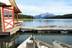 Maligne Lake. Canoe rental in Jasper National Park, Canada royalty free stock image