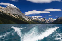 On the Maligne Lake. Boats trip on the Maligne Lake at the Jasper National Park in Canada Stock Images