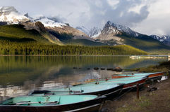 Maligne lake. Pristine Maligne lake in Jasper national park, Rocky Mountains Stock Photos