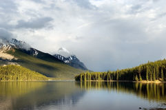 Maligne lake. In Canada's Jasper national park Royalty Free Stock Photography