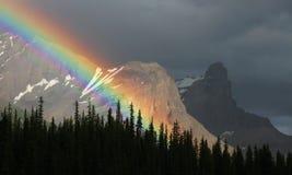 Maligne Lake. Rainbow over Maligne Lake, Jasper National Park, Canada royalty free stock images