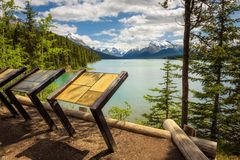 Maligne Lake in Jasper National Park. MALIGNE LAKE, ALBERTA, CANADA - JUNE 29, 2017 : Tourist viewpoint overlooking Maligne Lake in Jasper National Park, Canada Royalty Free Stock Photos