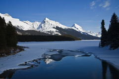Maligne Lake at Aprili. It's Maligne lake of Jasper Rock Mountain at April,2009 Stock Image