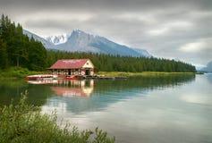 Maligne Lake Boathouse, Jasper National Park. Maligne Lake and the boat house in Jasper national Park, Alberta Stock Images