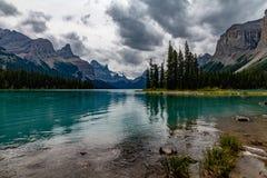 Maligne Lake, Canada. The beautiful blue of Maligne Lake in Canada royalty free stock photos