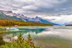Maligne Lake in Jasper National Park in Alberta Canada. Maligne Lake with its landmark Boat House dock in Jasper National Park, Alberta, Canada. The lake is Royalty Free Stock Images