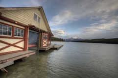 Maligne Lake Jasper Alberta. Scenic view beauty Stock Photos