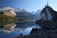 Maligne lake, Jasper national park. Reflection at Maligne lake in the very scenic Jasper national park, Alberta, canada Royalty Free Stock Image