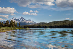Maligne Lake- Jasper National Park- Alberta- CA. This pretty lake is located on a very remote and interesting road southeast of Jasper Royalty Free Stock Photos