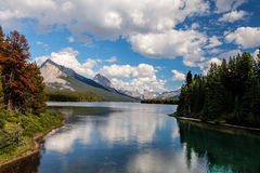 Maligne Lake- Jasper National Park- Alberta- CA. This pretty lake is located on a very remote and interesting road southeast of Jasper Stock Photos
