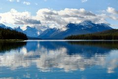 Maligne Lake, Jasper National Park, Canada. Reflections on Maligne Lake, Jasper National Park, Canada Stock Photography