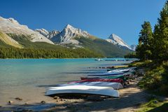 Maligne lake, Jasper National park, Canada. Canoes near Maligne lake in Jasper National Park, Canada Stock Image