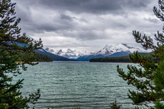 Maligne Lake in Jasper National Park. In Canada with the Elizabeth Range in the Background on a cold and windy September day Stock Photo