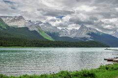 Maligne Lake, Jasper National Park, Canada. View of scenic Maligne Lake, located in Jasper National Park, Alberta, Canada Stock Photos