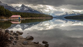 Maligne lake , Jasper National Park. Morning lake reflection in the rocky mountains of  Jasper national park, Alberta, Canada Stock Photos
