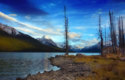 Maligne lake, Jasper national park at sunset, Canada. It is famed for the colour of its water, the surrounding peaks, the three glaciers visible from the lake Stock Photo