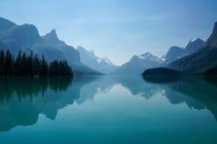 Maligne Lake in Jasper National Park Stock Photos