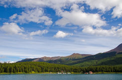 Maligne Lake in Jasper National Park. View over Maligne Lake in Jasper National Park, Alberta, Canada Stock Images