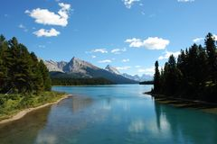 Maligne lake and mountains. View from a cruise boat in maligne lake, summer view of canadian rockies, jasper national park, alberta Royalty Free Stock Photography