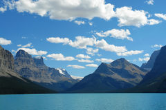 Maligne lake and mountains. Summer view of the maligne lake and surrounding canadian rockies in jasper national park, alberta, canada Royalty Free Stock Images