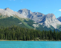 Maligne lake and mountains in jasper. Summer view of the maligne lake and surrounding rocky mountains in jasper national park, alberta, canada Royalty Free Stock Photos