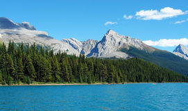 Maligne lake and mountains in jasper. Summer view of the maligne lake and surrounding canadian rockies in jasper national park, alberta, canada Royalty Free Stock Image