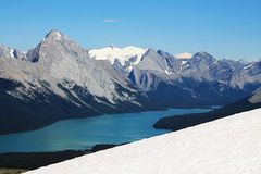 Maligne Lake Mountain Panorama. A blue sky with a wide panorama of the Canadian Rockies and Maligne Lake can be seen on this rewarding day hike near Maligne Lake Royalty Free Stock Photos