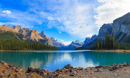 Maligne Lake panorama. Maligne Lake in Jasper national park, Alberta, Canada Stock Photography